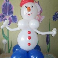 Снеговик из воздушных шариков своими руками
