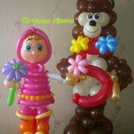 Маша и медведь из воздушных шаров фото мастер класс
