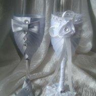 Как сделать свадебные бокалы лентами своими руками