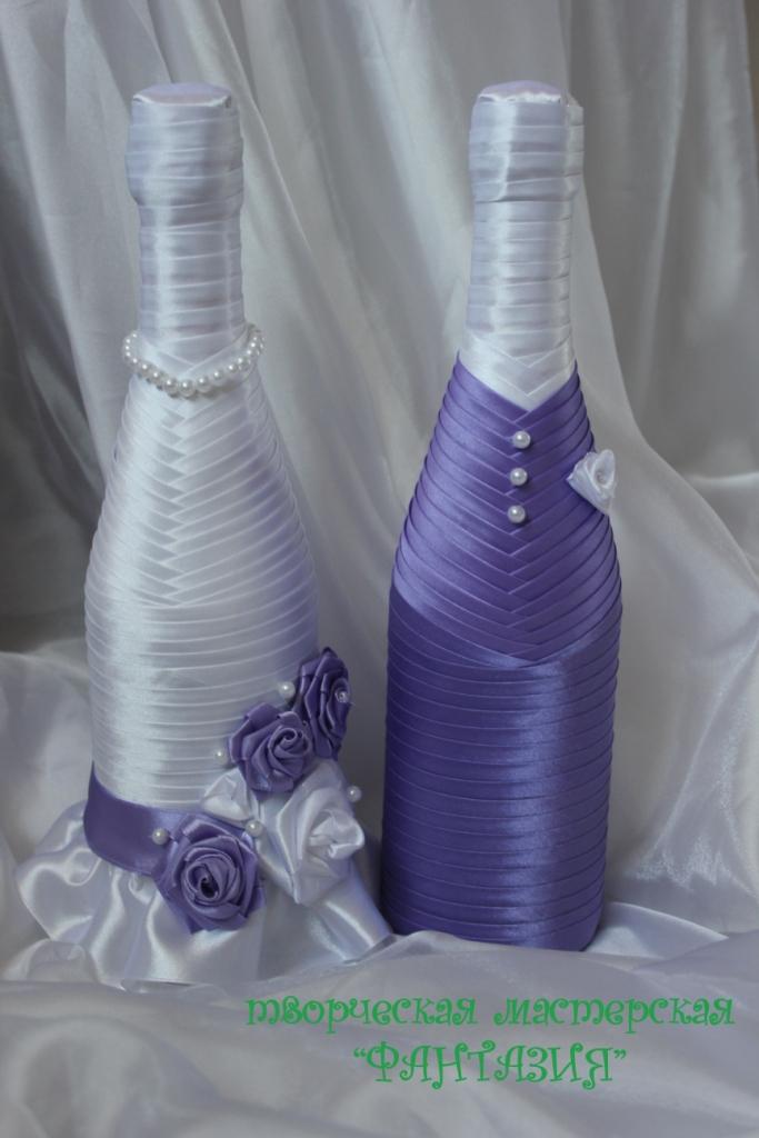 Украшение бутылок на свадьбу лентами своими руками