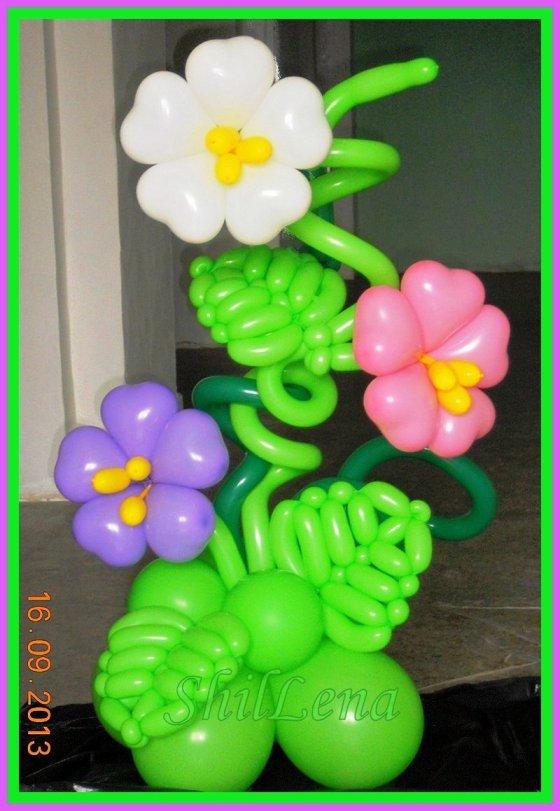 Корзина с цветами из шариков как сделать