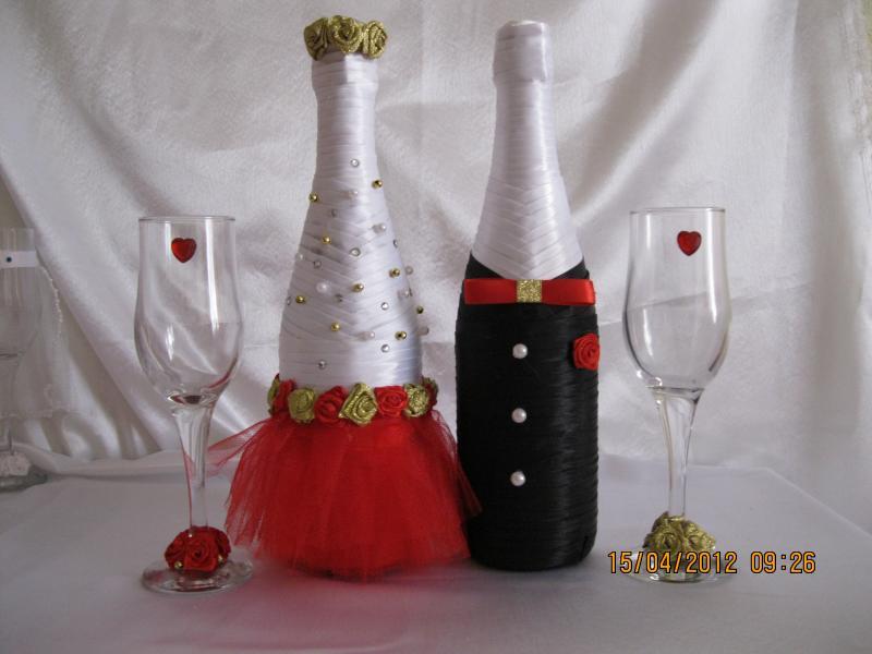 Бутылки и бокалы на свадьбу своими руками пошагово